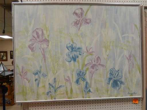 signed dennis blair large floral canvas painting