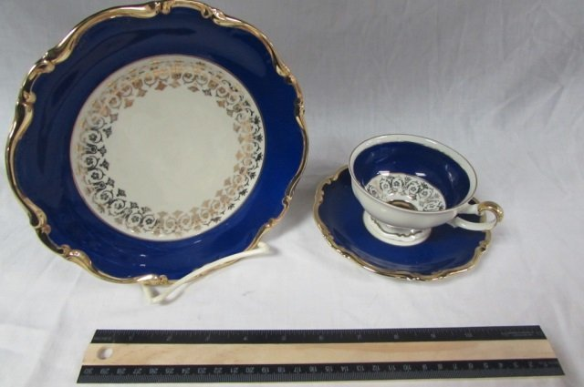 MITTERTEICH PORCLAIN TEA & DESERT SET BLUE AND WHITE