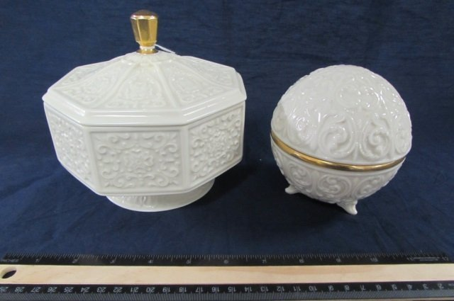 LENOX DECORATIVE PIECES 8 IN CANDY DISH WITH LID AND