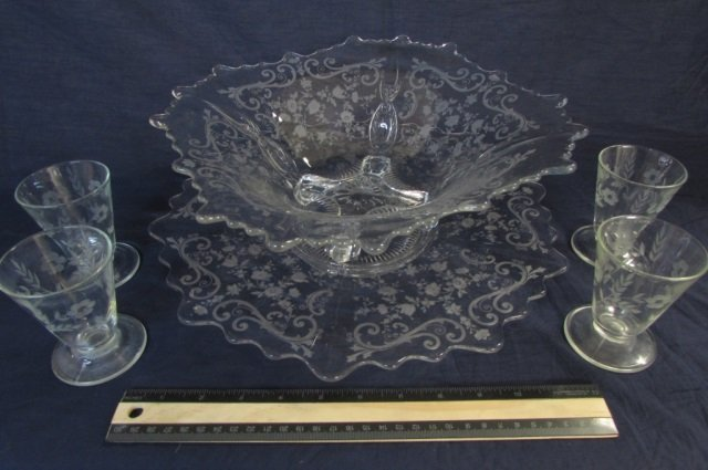 6 pcsETCHED CLEAR GLASS DEPRESSION GLASS DISHWARE