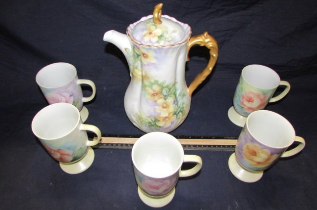 HAND PAINTED PORCELAIN COFFEE SET FLORAL DESIGN COFFEE