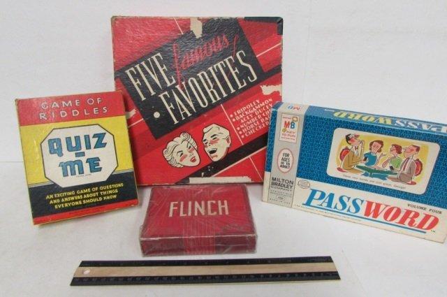 4 VINTAGE GAMES GAME OF RIDDLES QUIZ-ME, FLINCH, VOLUME