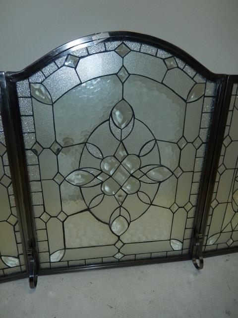 BEVELED LEAD GLASS FIREPLACE SCREEN - 4