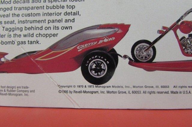 3 VINTAGE PLASTIC CAR MODEL KITS CHERRY BOMB, 1965 - 5