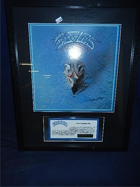 EAGLES GREATEST HITS FRAMED VINYL RECORD SERIAL # 1973,