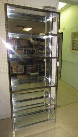 CHROME AND GLASS DISPLAY UNIT