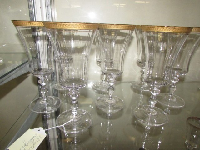 CLEAR CRYSTAL WATER GOBLETS (8)