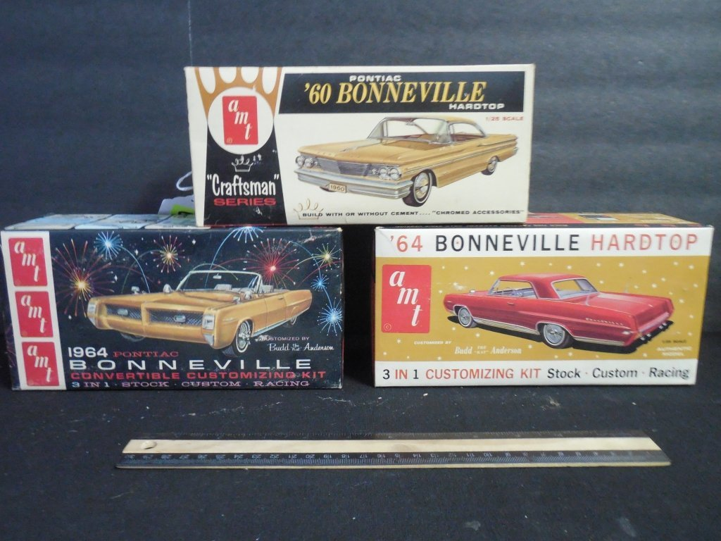 3 VINTAGE AMT CAR MODEL KITS