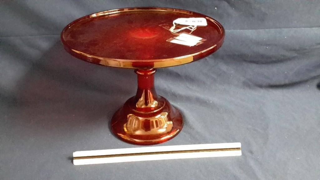 Vintage Mosser Red Glass Cake Stand