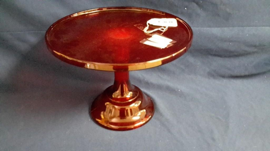 Vintage Mosser Red Glass Cake Stand - 2