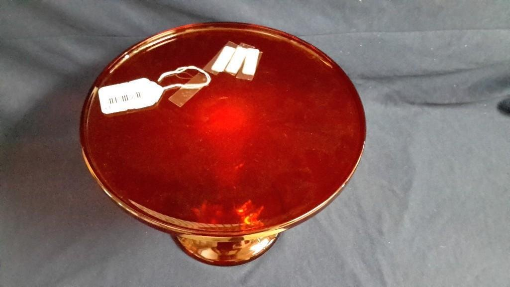 Vintage Mosser Red Glass Cake Stand - 4