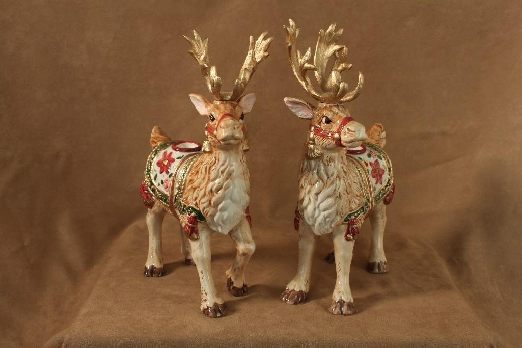 Fitz and Floyd Reindeer Candle Holders (2)
