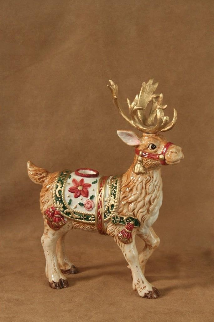 Fitz and Floyd Reindeer Candle Holders (2) - 2