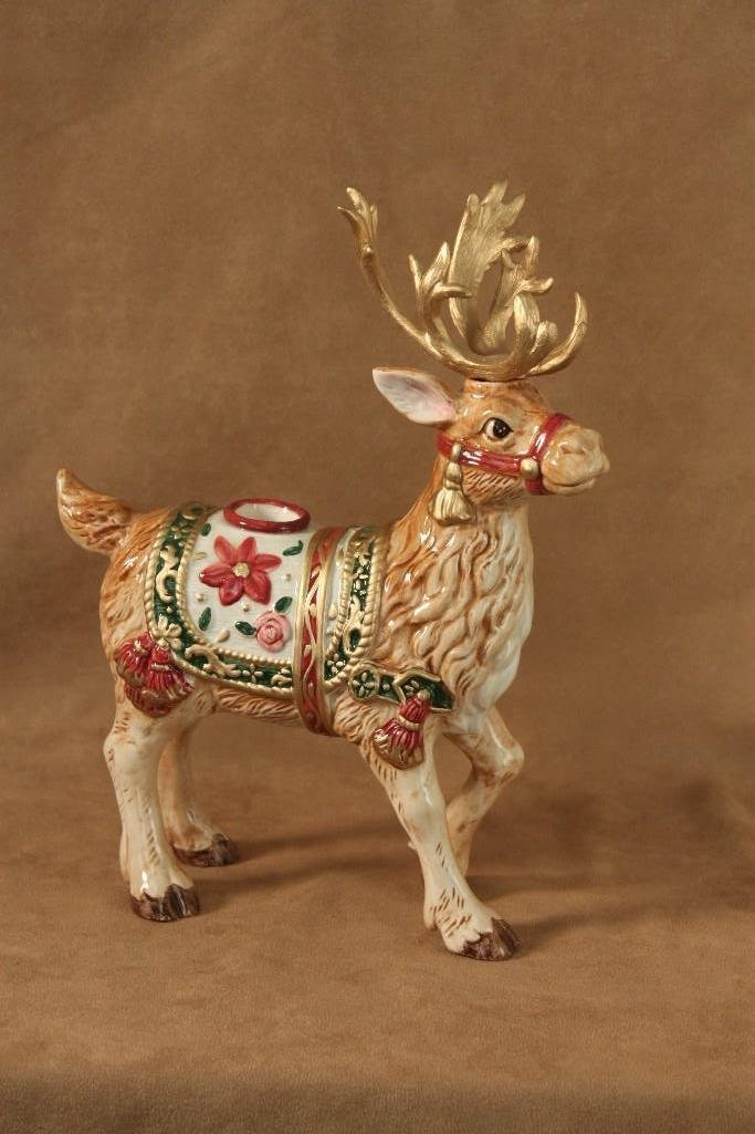 Fitz and Floyd Reindeer Candle Holders (2) - 3