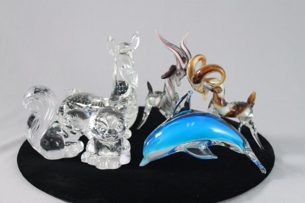 Glass Animal Figurines (6)
