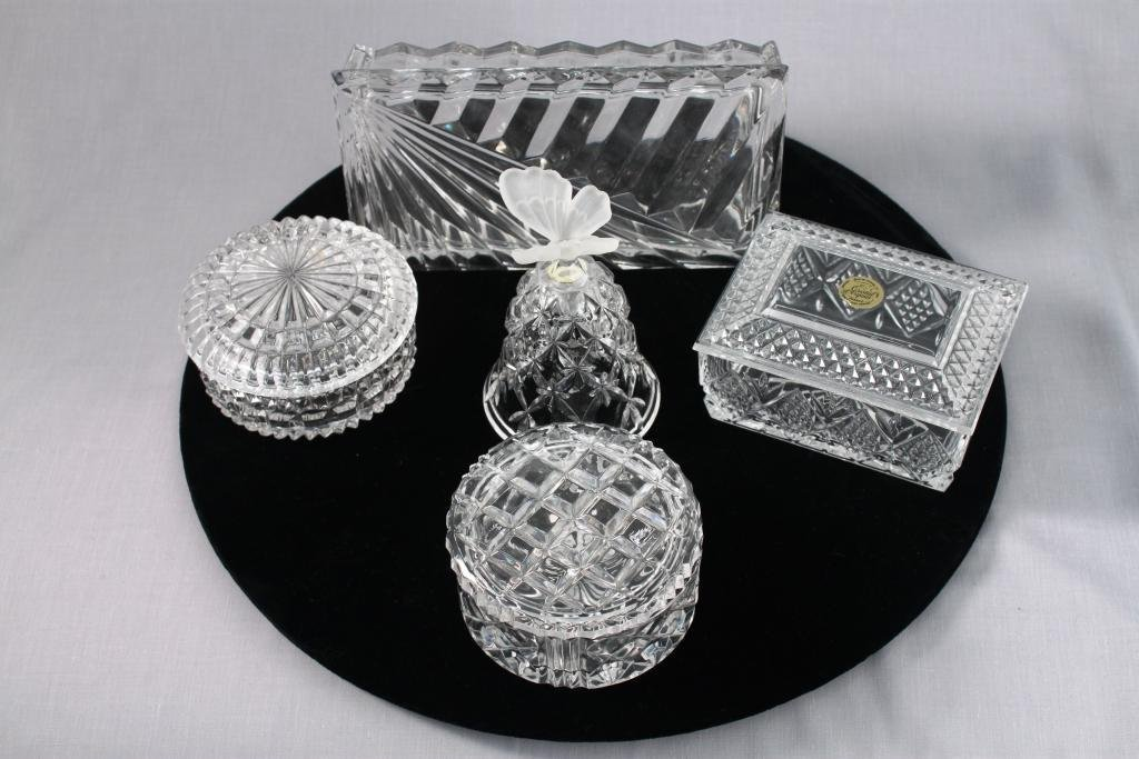 Clear Crystal Vanity Boxes and one bell