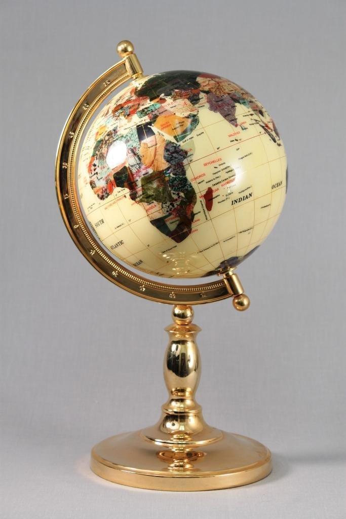 Natural Stone encrusted World Globe