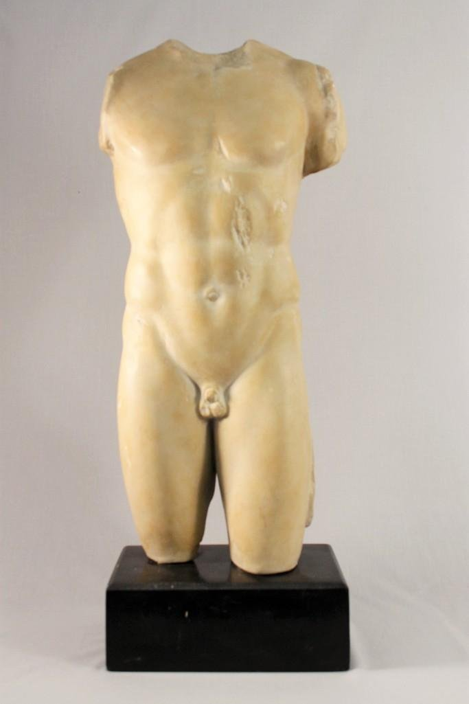 Male Nude Sculpture and Pedestal