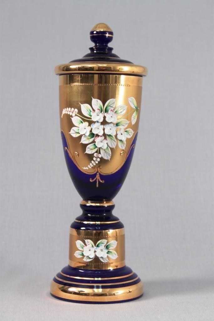 Bohemian Cobalt Lidded Glass Jar