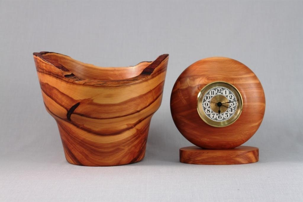 Hand Crafted Juniper Wood Bowl and Clock (2)
