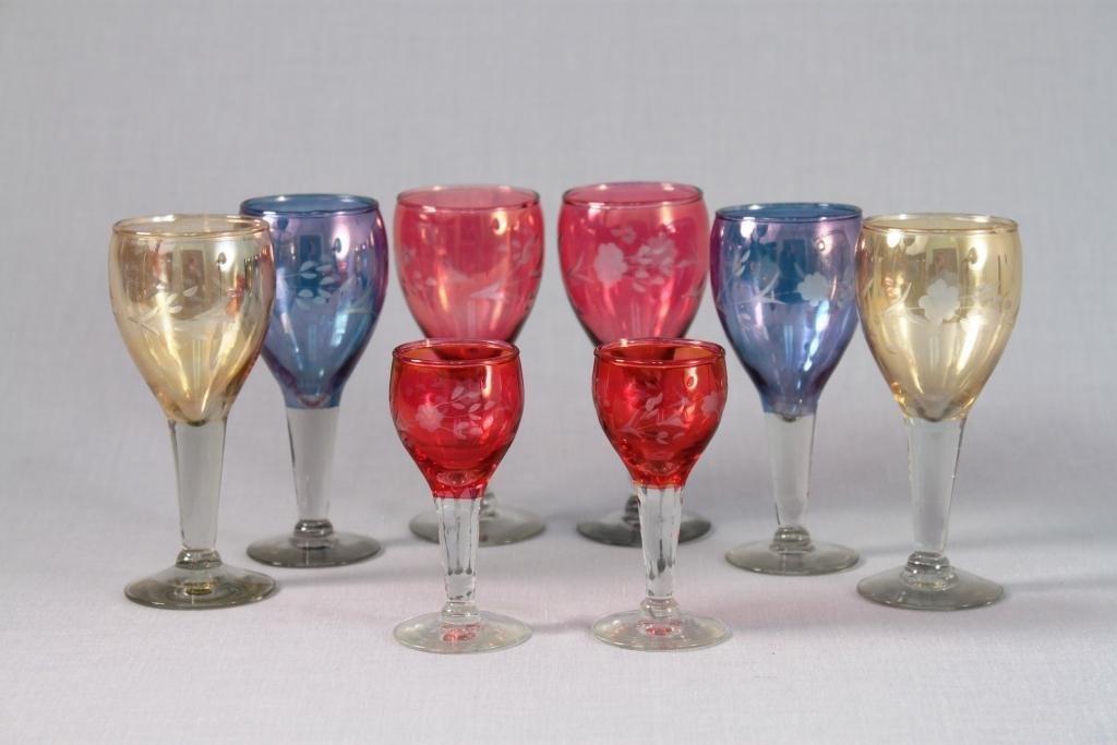 Decorative Colored Cordial Glasses (8)