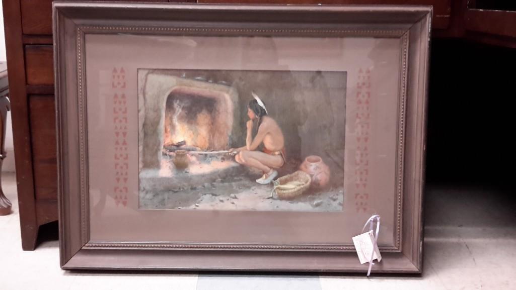 E.I. Couse Framed Indian Art