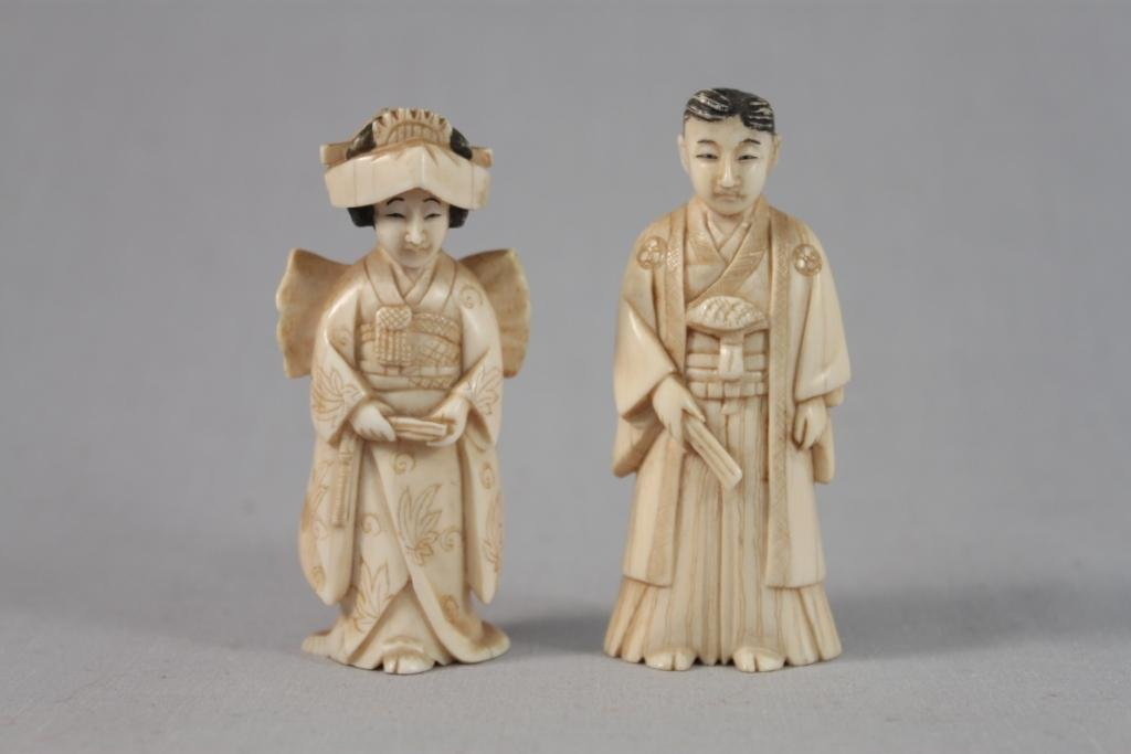 Antique Japanese Carved Netsukes (Bride and Groom) (2)