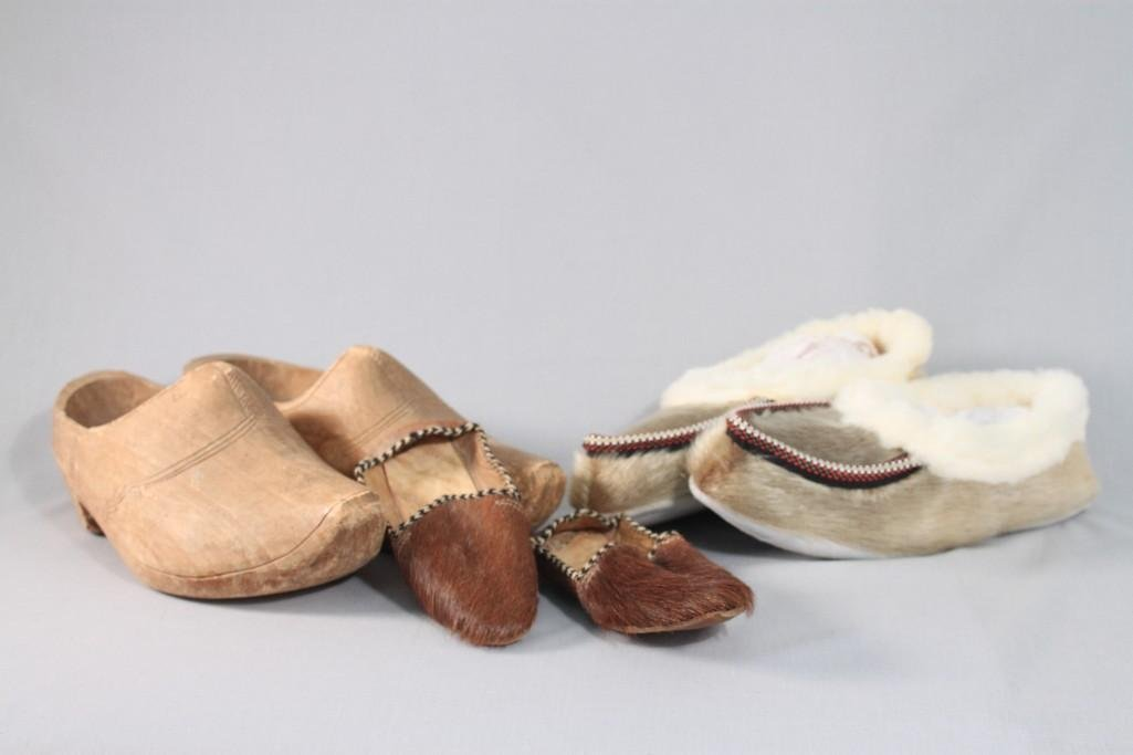 Fur Moccasins and Dutch Clogs (three pairs)