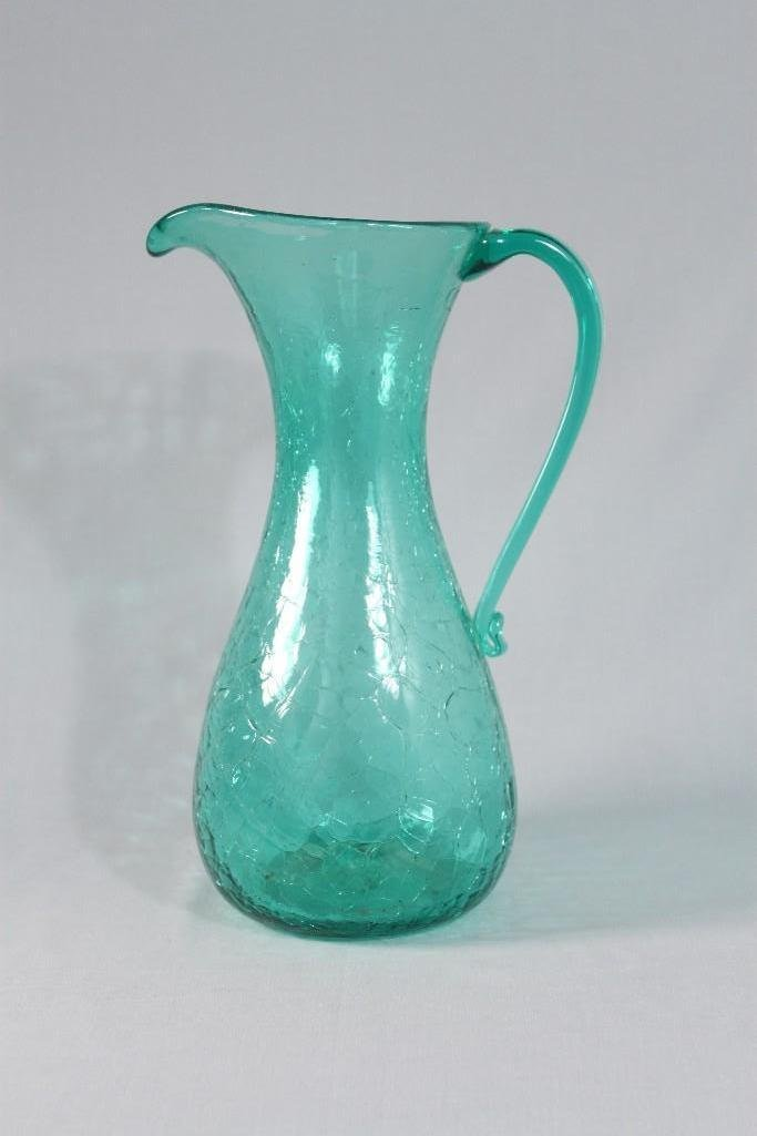 Vintage Crackle Glass Pitcher