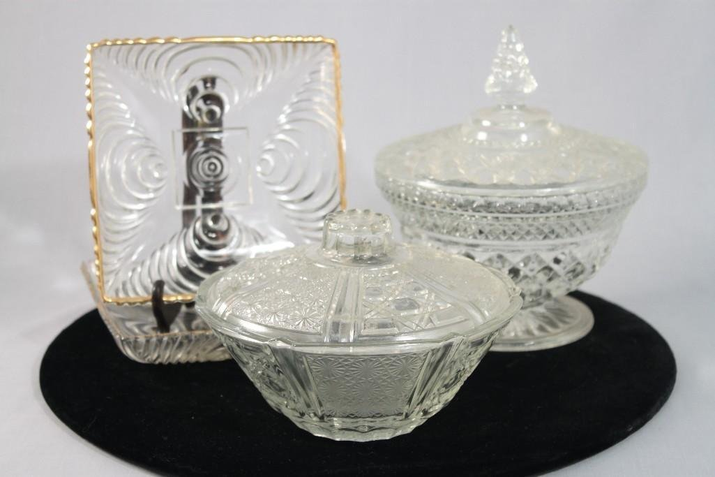 Vintage Pressed Glass Candy Dishes (4)