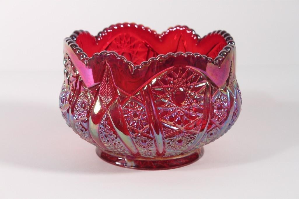 Raspberry Carnival Glass Bowl