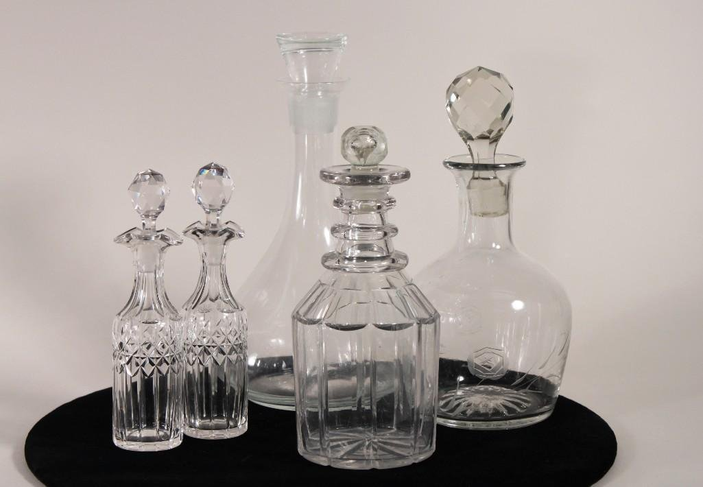 Clear Glass Decanters and Cruets (5)