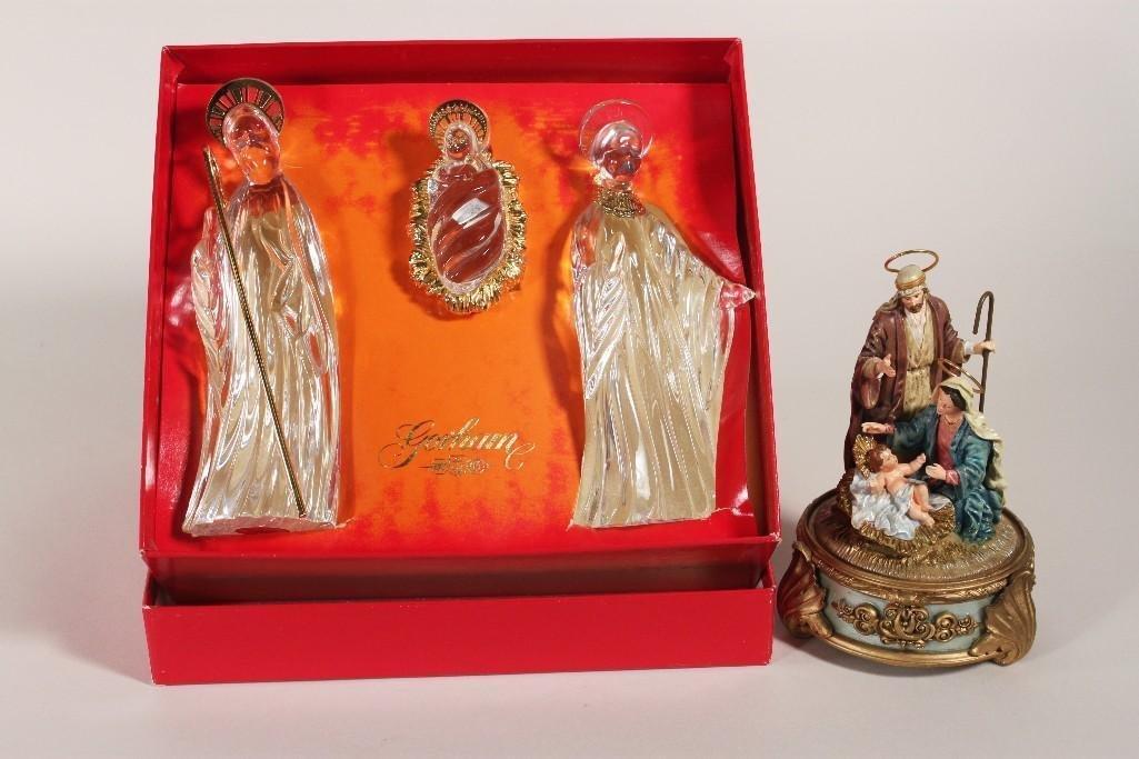 Gorham Glass Nativity Figurines and a Music Box