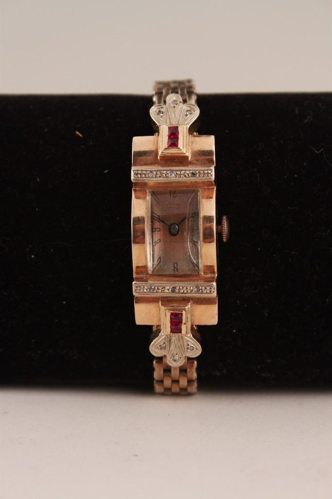 Kreisler 14k  15 jewel Diamond & Ruby Wristwatch