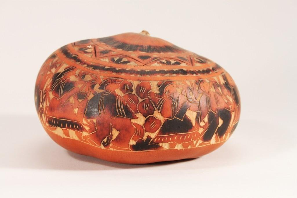 Hand Crafted Lidded Gourd Bowl