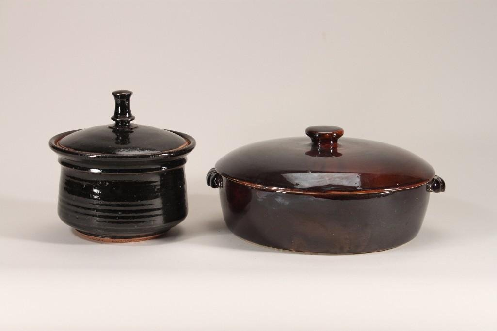 Old Hickory Cookware and a Stoneware Lidded Bowl (2)