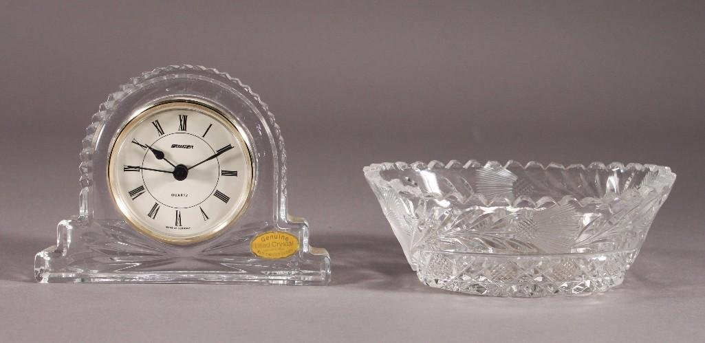 Lead Crystal Clock and Candy Dish (2)