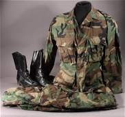 Camoflauge Pants and jacket, and Black Boots