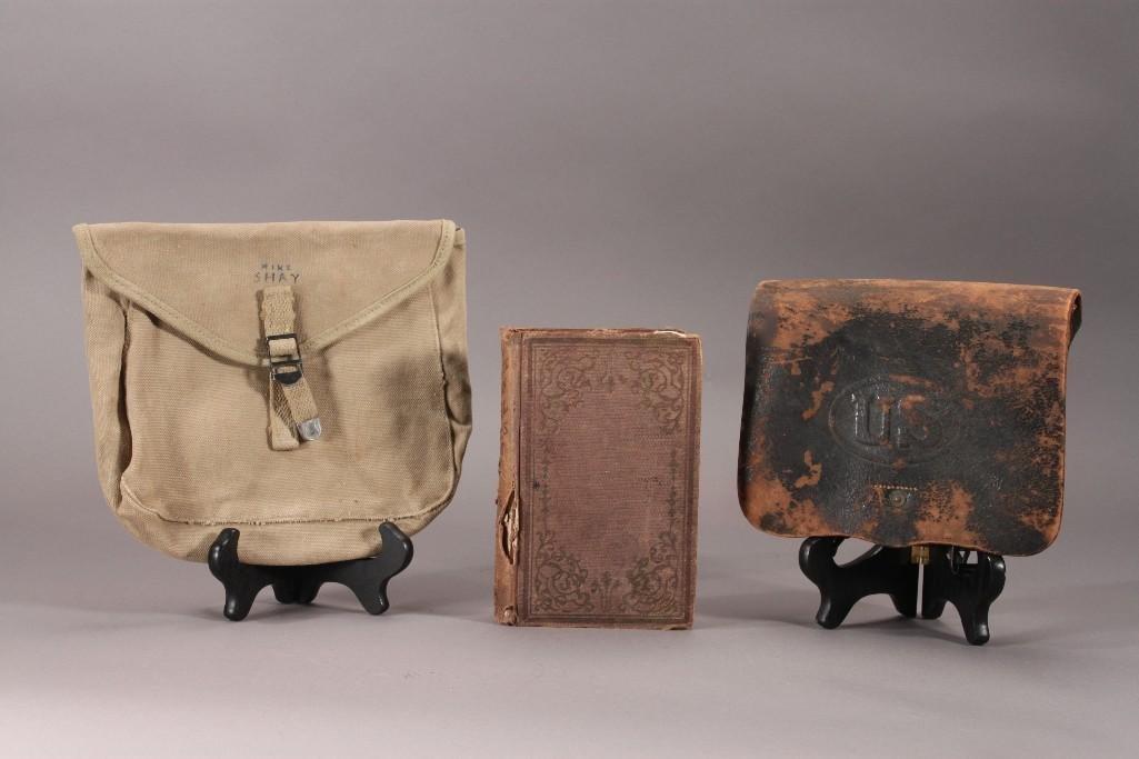 Civil War Era 1st ed book, leather case