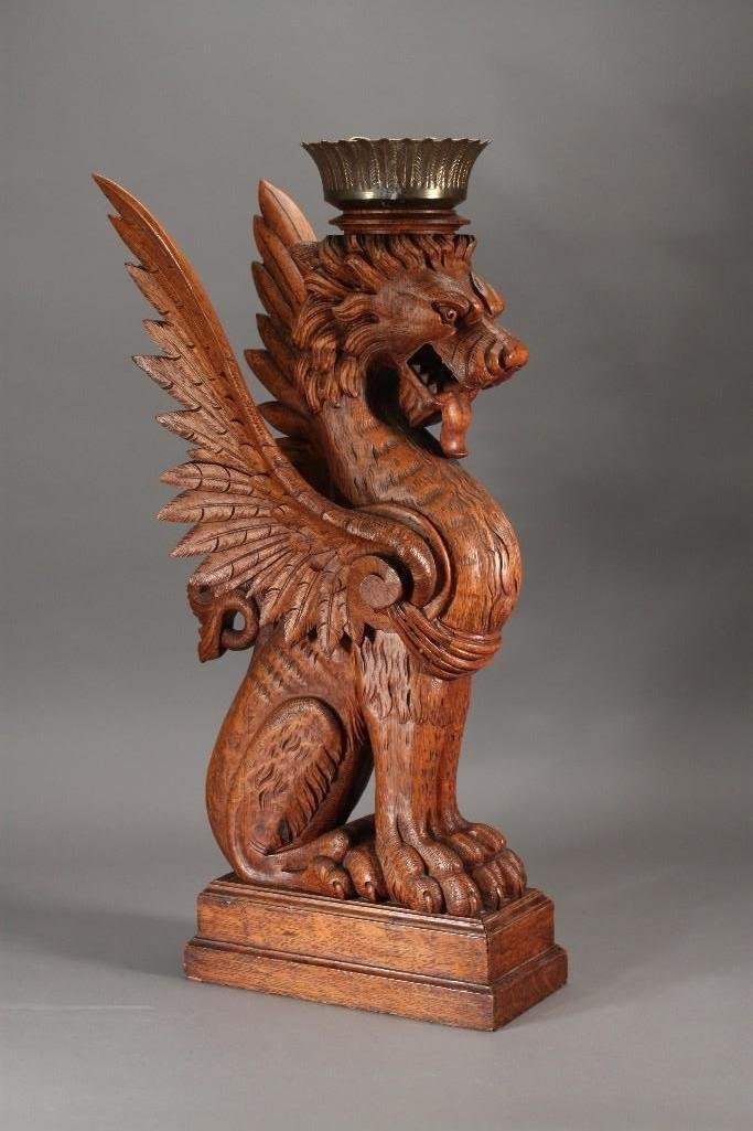 Antique Griffin Candle Holder