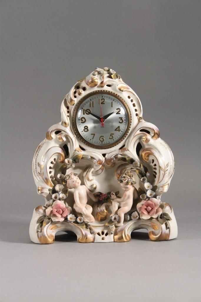 Capodimonte Style Porcelain Case Mantel Clock