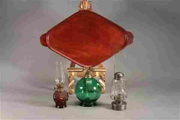 Vintage Small Oil Lamps and Wood Tray (4)