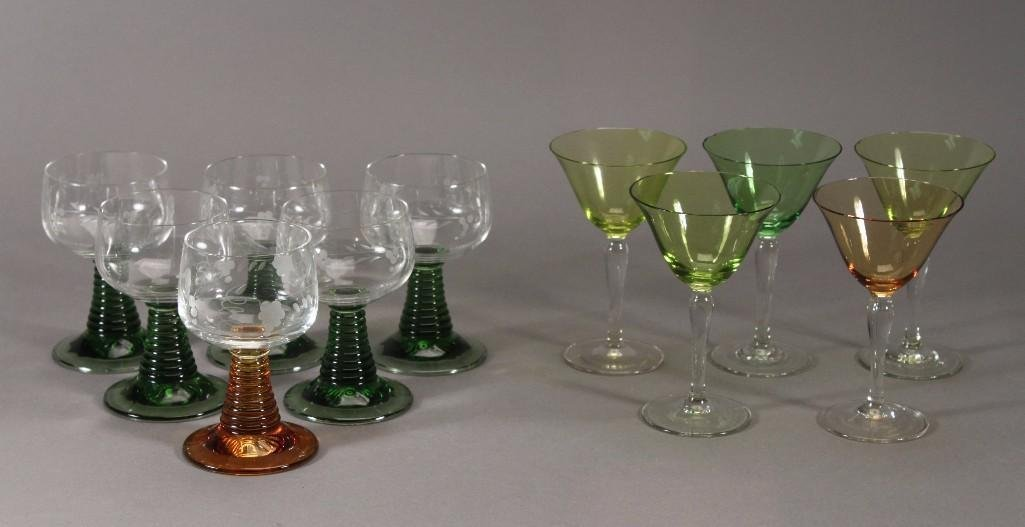 Clear and colored glass stemware (11)