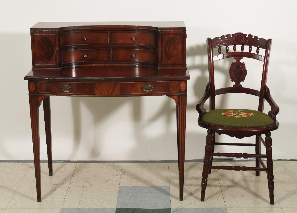 Antique Mahogany Duncan Phyfe Desk with Chair
