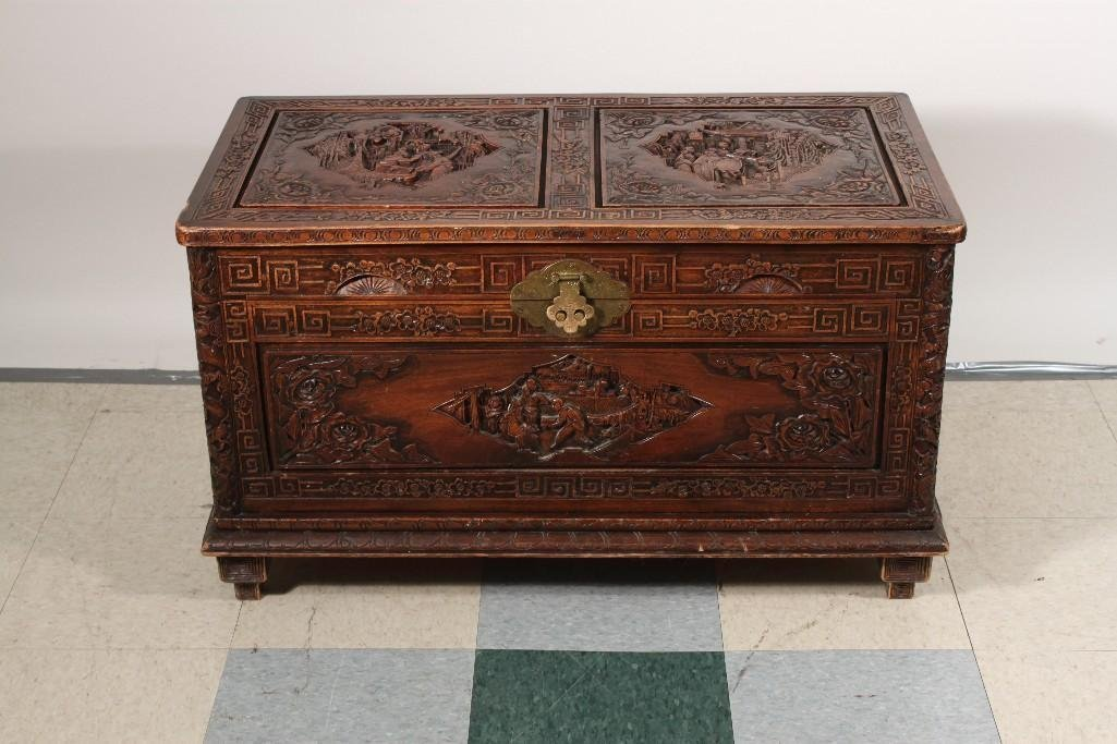 Asian Style Carved Wood Camphor Chest