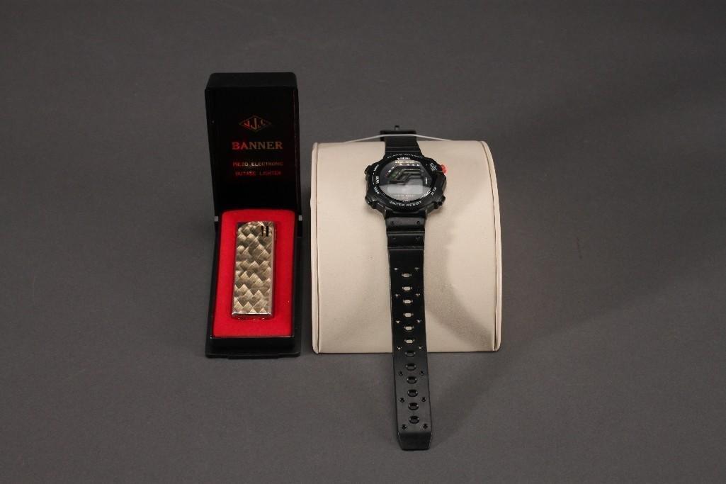 Banner Lighter and Digi-Tech Wrist Watch