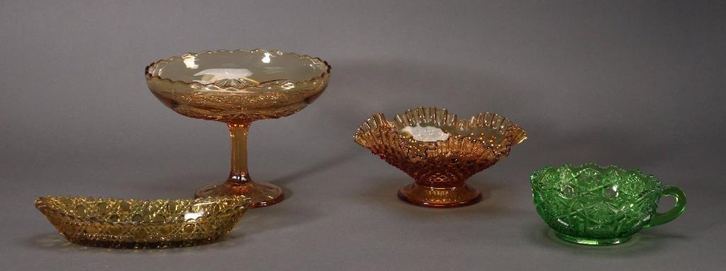 Amber and Green Depression Glass Dishes (4)