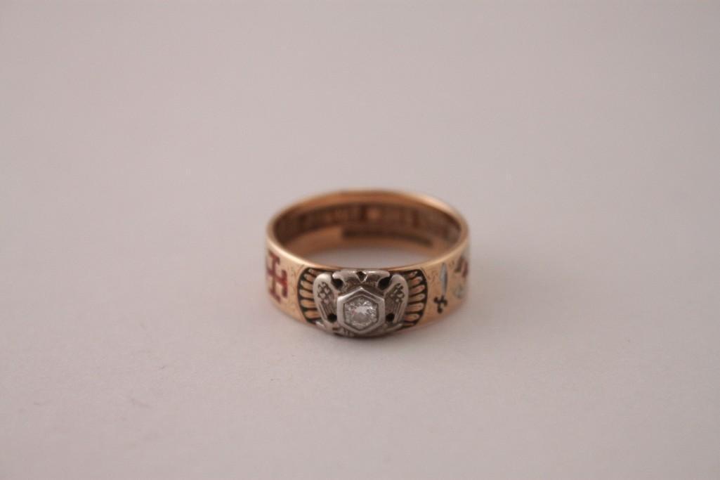 Man's Free Mason 14kt Diamond Ring
