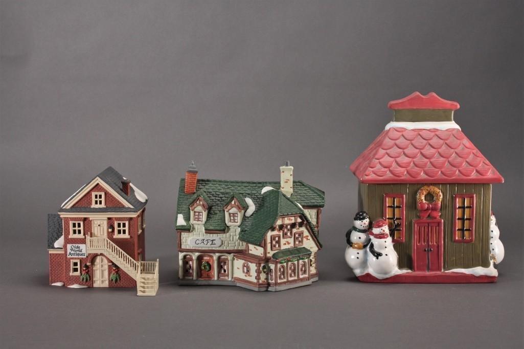 Christmas House Cookie Jar and Christmas Village