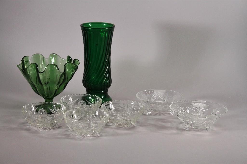 Glass Bowl and Vases (8)